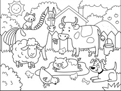 Farm animals.  Coloring book for children. Cartoon vector illustration.