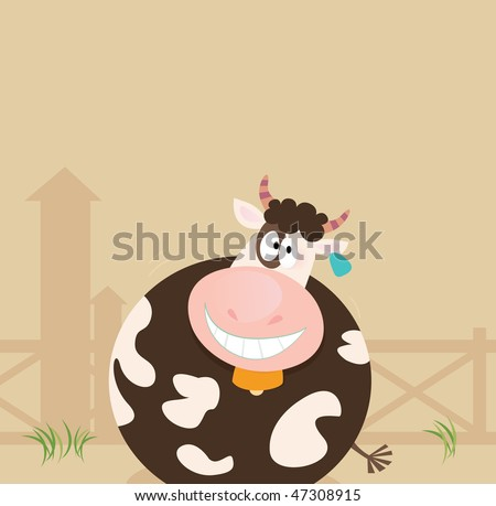 Farm animals: Cow. Farm scene with cow. Vector cartoon Illustration.