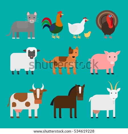 farm animals cute colorful