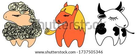farm animals cute illustration