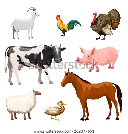 Farm animals decorative icons set with cow goose pig horse isolated vector illustration