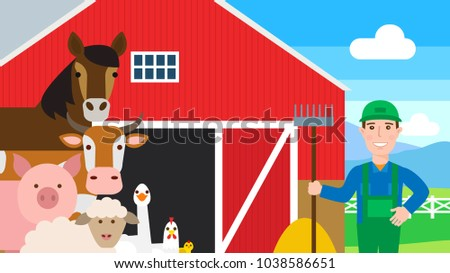 Farm Animals Farmer Red Barn