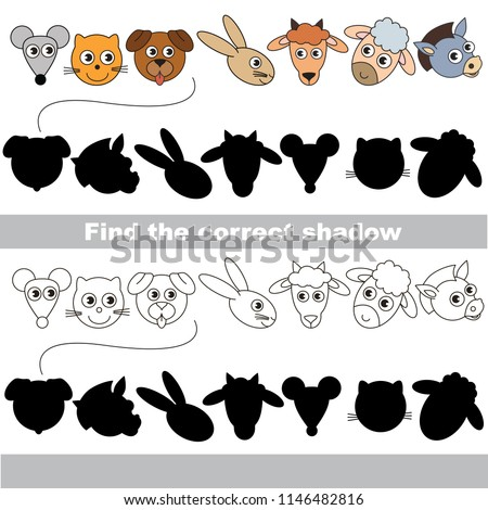 Farm Animals Heads and Faces set to find the correct shadow, the matching educational kid game to compare and connect objects and their true shadows, simple gaming level for preschool kids.