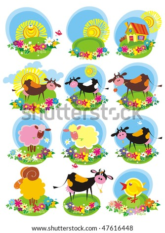 Farm animals icon set. Vector illustration