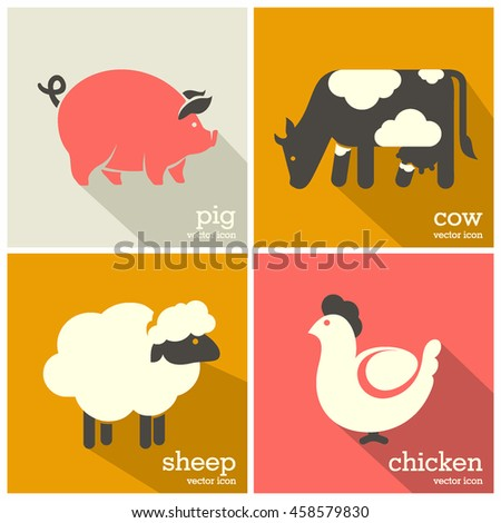 Farm animals icon. Sheep, cow, pig, chicken icons