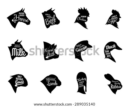 Farm animals icons collection. Farm animals and butchery labels templates isolated on white.
