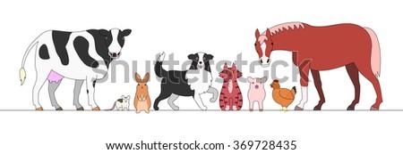 farm animals in a row