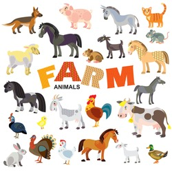 Farm animals in front view and side view large vector cartoon set in flat style isolated on white background. Vector illustration of animals.Great for children's designs,printed products and souvenirs