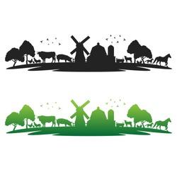 Farm Animals landmark with Old Barn. Panorama vector illustration Cattle farmer.