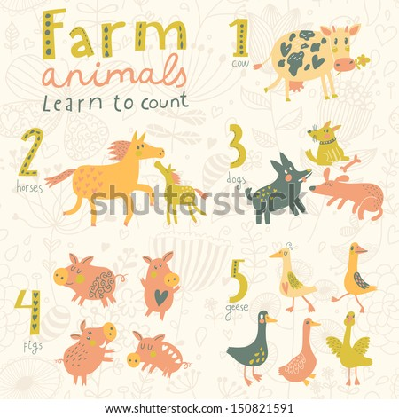 farm animals. learn to count...