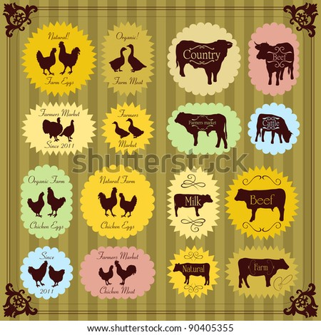 Farm animals market egg and meat labels food illustration collection