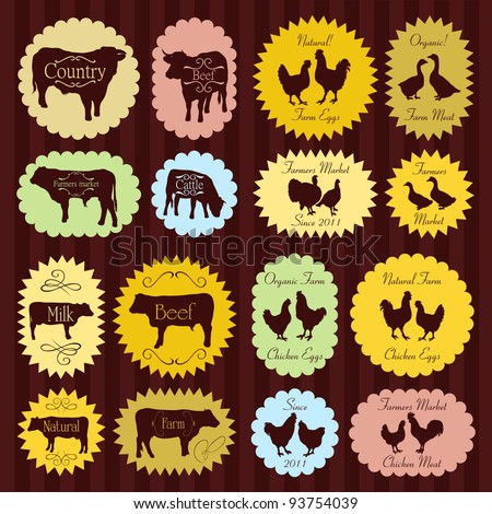 Farm animals market egg and meat labels food illustration collection background vector