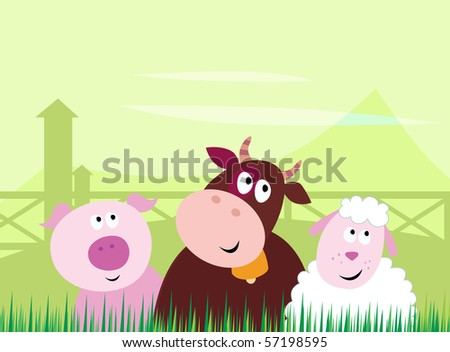 Farm animals - Pig, Cow and Sheep. Vector Illustration.