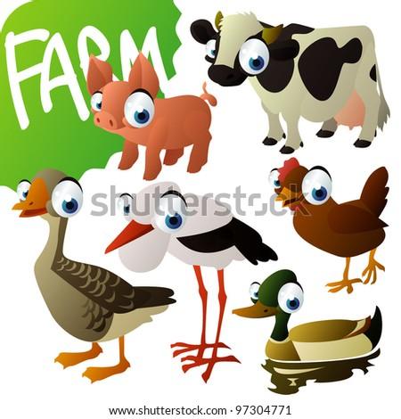 farm animals: pig, cow, hen, drake, stork, goose