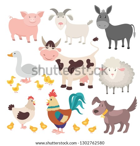farm animals pig donkey cow