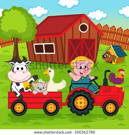 farm animals ride on the tractor in the yard - vector illustration, eps