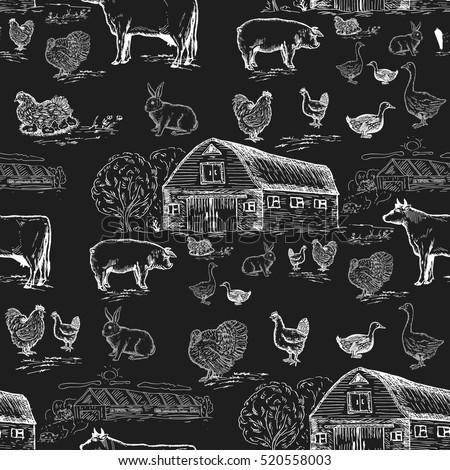 farm animals seamless pattern....
