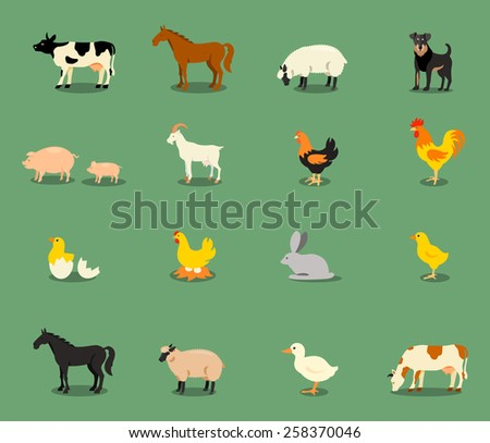 farm animals set in flat vector