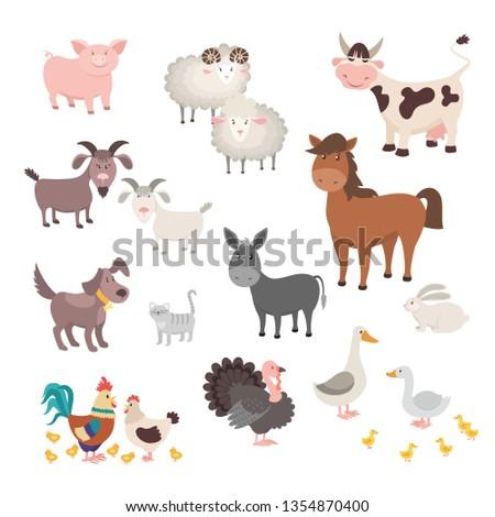 farm animals set isolated