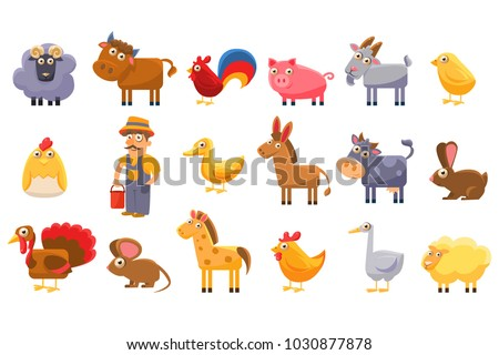 farm animals set  male farmer