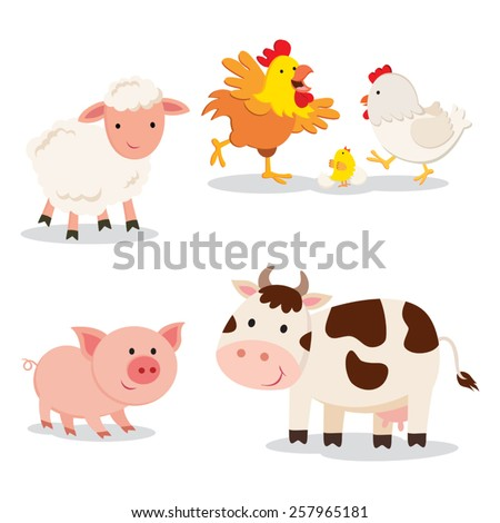 Farm animals. Set of cartoon farm animals isolated on white background.