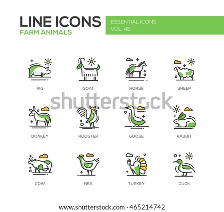 Farm animals - set of modern vector line design icons and pictograms. Pig, goat, horse, sheep, donkey, rooster, goose, rabbit, cow hen turkey duck