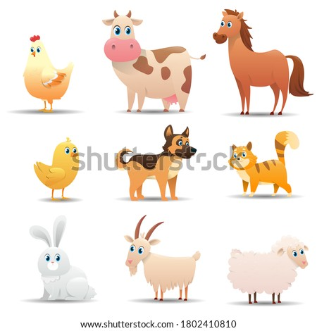 Farm animals set on a white background. Series of different farm animals by color: rooster, chicken, cow, horse, pig, chicken, dog, cat, goose, rabbit, goat, sheep. Vector illustration  Foto stock ©