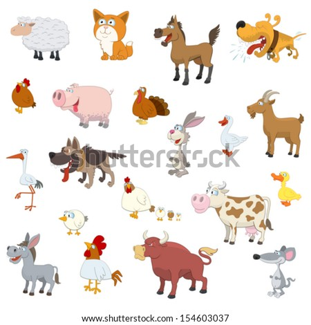 farm animals set on white...