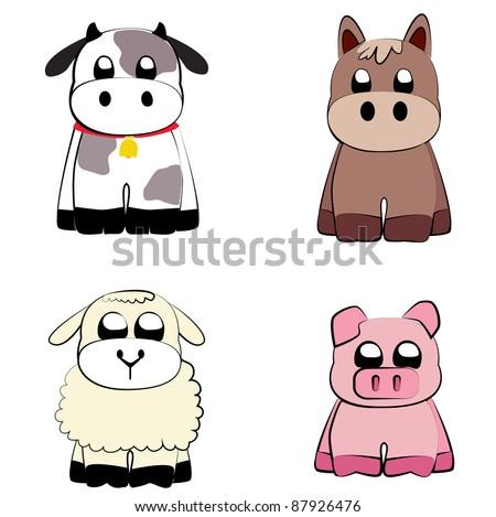 Farm animals set vector