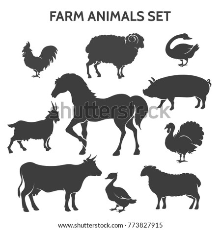 Farm animals silhouettes. Farmyard livestock animal set like horse and cow, goose and turkey, pig and goat isolated on white background, vector icons