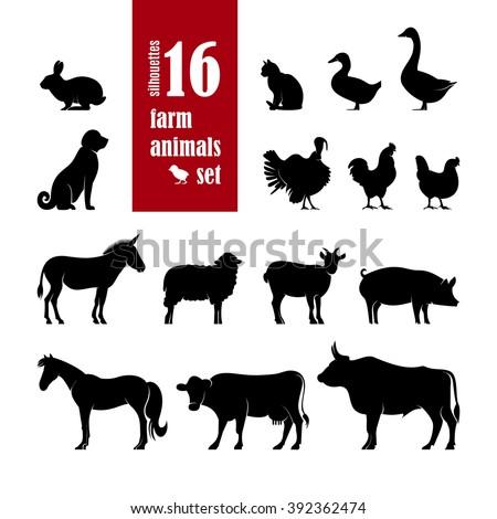 farm animals silhouettes set