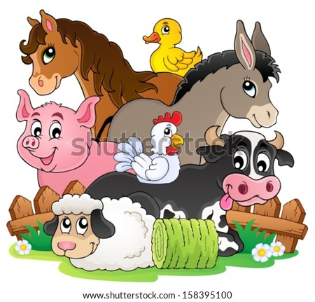 Farm animals topic image 2 eps10 vector illustration