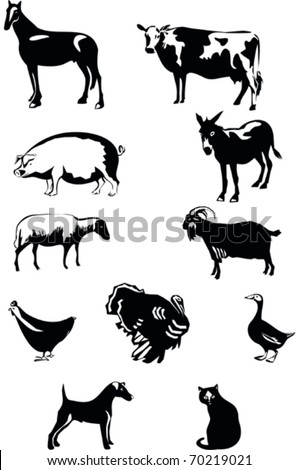 Farm Animals-Vector Set - stock vector