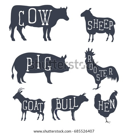 Farm animals, vector set icons. Collection of silhouettes such as cow, bull, sheep, pig, rooster, chicken, hen, goat. Vector illustration