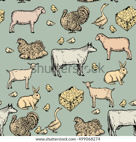 farm animals vintage seamless...