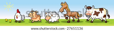 farm animals walking