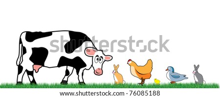 farm animals walking on the grass
