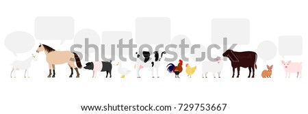 Farm animals with speech bubbles