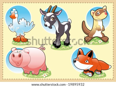 stock vector : Farm Baby Animals. Funny cartoon and vector illustration.