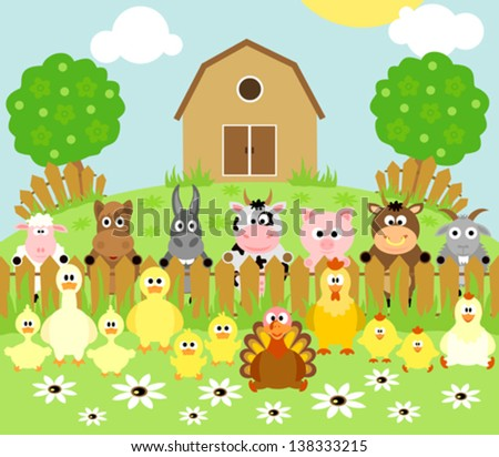 farm background with funny
