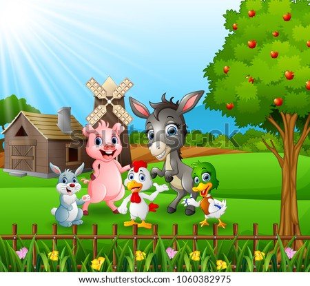 farm background with happy