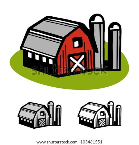 Farm barn and silo cartoon illustration design vector