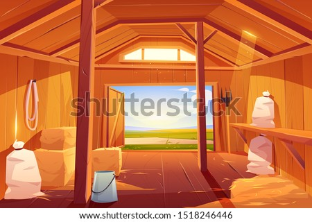 Farm barn house inside. Empty wooden ranch interior with haystacks, sacks, fork, open gate and green summer field outside view. Traditional countryside storehouse building. Cartoon vector illustration