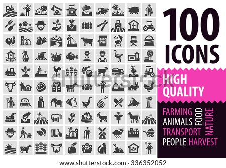 farm black icons set. gardening, horticulture or harvest, animals signs and symbols