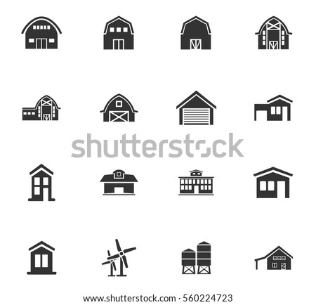 farm building vector icons for user interface design