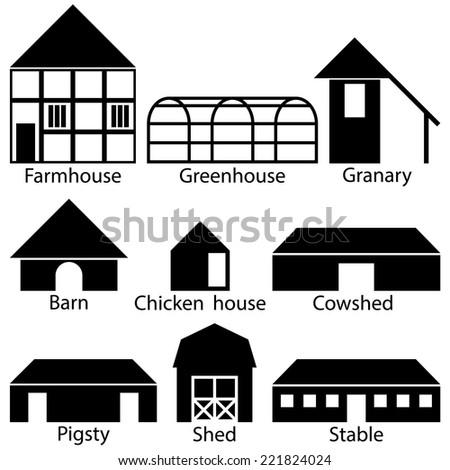 Farm Buildings Icons, Vector Illustration