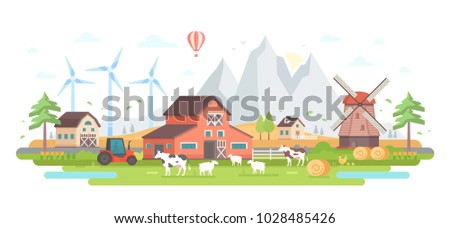 Farm by the mountains - modern flat design style vector illustration on white background. A composition with a village, barns, windmills, mills, animals, tractor, haystacks, house