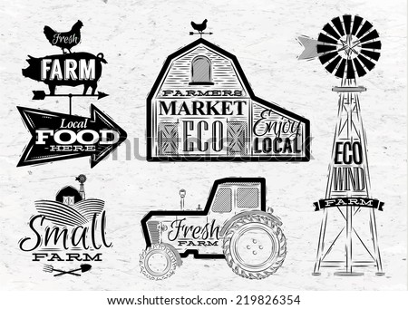 farm characters in vintage...