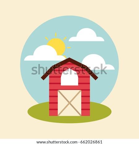 farm circle background flat
