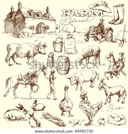 farm collection - hand drawn set - stock vector